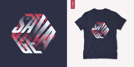 Savage. Graphic mens three dimensional t-shirt design, poster, typography. Vector illustration