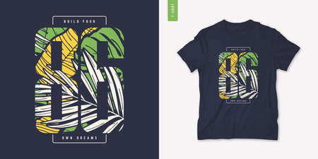 Colorful summer graphic t-shirt design, tropical print, vector illustration