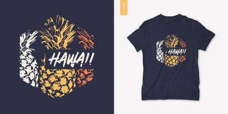 Summer graphic tee design with pineapple, stylish print, vector illustration