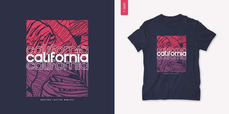 California summer graphic t-shirt design, tropical print, vector illustration