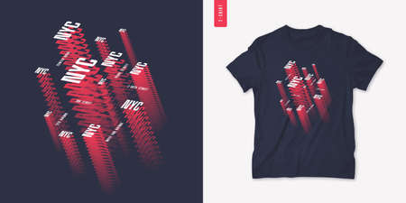 NYC. Graphic mens isometric t-shirt design, poster, typography. Vector illustration