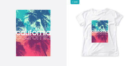 Summer graphic womens tee with palm trees, stylish print, colorful vector illustration