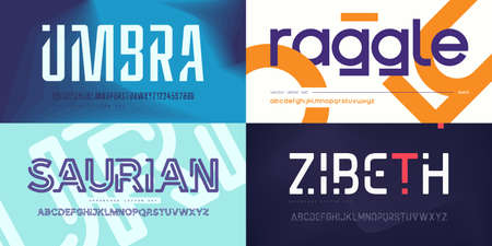 Collection of stylish vector sans serif fonts, letter sets, alphabets