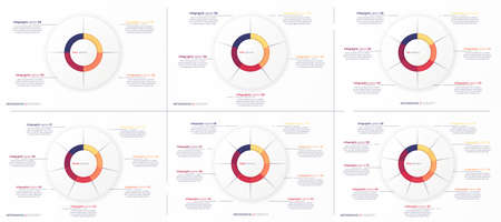 Set of vector round circle infographic chart templates divided by 4 5 6 7 8 9 parts