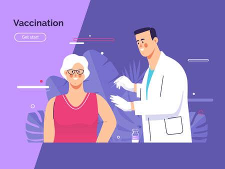 Vector illustration depicting a male doctor vaccinates an elderly woman patient against coronavirus Stock Illustratie