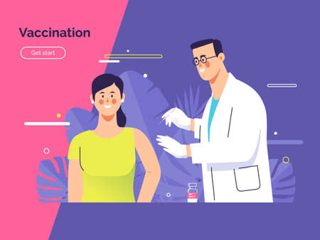 Vector illustration depicting a male doctor vaccinates a young woman patient against coronavirus