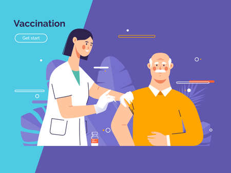 Vector illustration depicting a female doctor vaccinates an old man patient against coronavirus