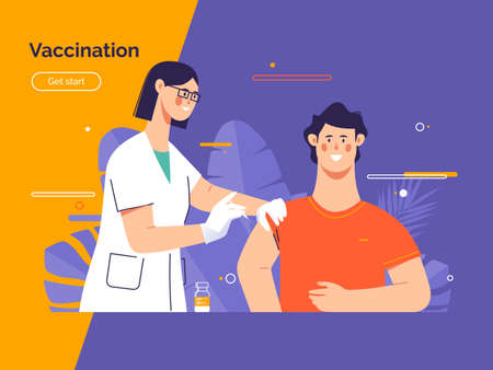 Vector illustration depicting a female doctor vaccinates a young man patient against coronavirus Stock Illustratie