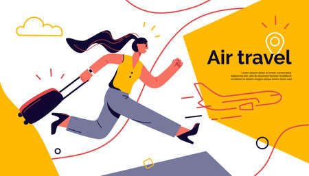 Vector illustration of a running young woman with luggage hurrying to board flight Stock Illustratie