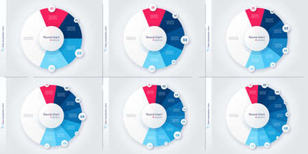 Set of vector modern circle chart infographic templates. 4-9 options Stock Illustratie