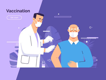 Vector illustration depicting a male doctor vaccinates an old man patient against coronavirus
