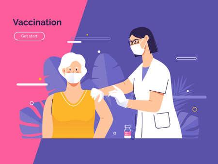 Vector illustration depicting a female doctor vaccinates an elderly woman patient against coronavirus Stock Illustratie