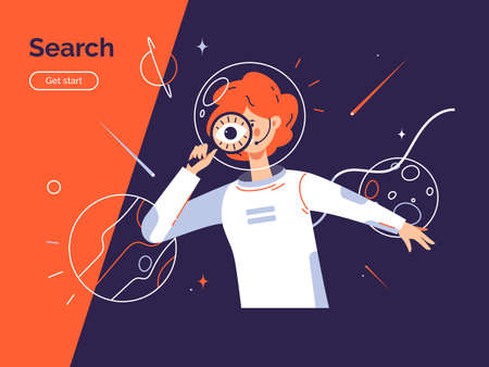 Search concept. Vector illustration depicting a young woman in the astronaut suit using magnifying glass