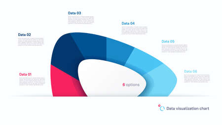 Vector pie chart infographic template in the form of abstract shape divided by six parts Stock Illustratie