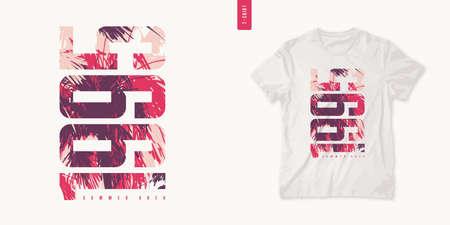 Summer area graphic tee design, typography print, vector illustration