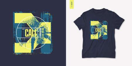 San Diego California summer graphic t-shirt design, print, vector illustration