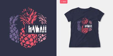 Summer graphic womens tee with pineapple, stylish print, vector illustration Stock Illustratie