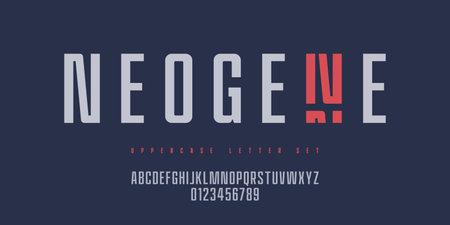 Vector narrow sans serif font, uppercase letter set, alphabet, typography