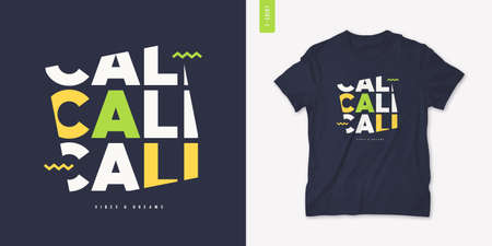 California vibes and dreams graphic t-shirt design, letter print, vector illustration Stock Illustratie