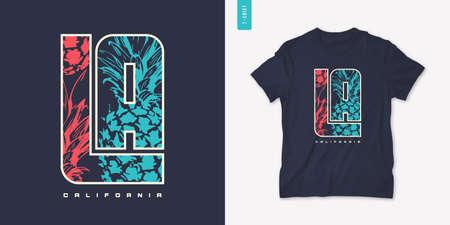 California summer graphic t-shirt design with pineapple, stylish print, vector illustration