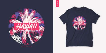 Hawaii beach graphic tee design, typography print, vector illustration