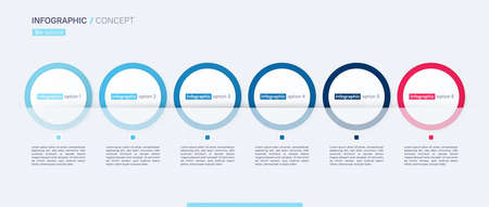 Stylish vector infographic concept template. Six options