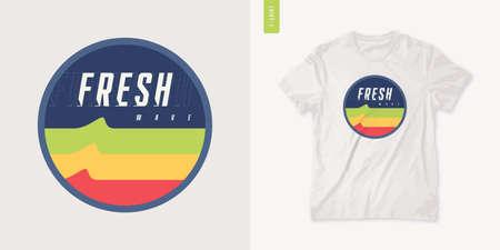 Fresh wave. Graphic summer t-shirt design, retro print, vector illustration