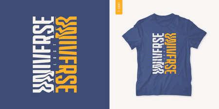Lost universe. Streetwear graphic t-shirt design, letter print, vector illustration