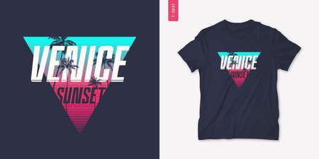 Venice sunset graphic t-shirt design with palm tress, summer retro print, vector illustration
