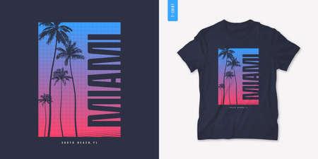 Miami Florida graphic t-shirt design with palm tress, summer retro print, vector illustration