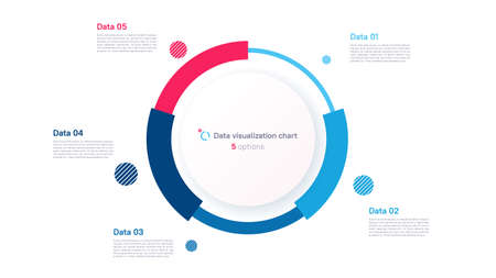 Vector pie chart infographic template in the form of pie chart divided by five parts