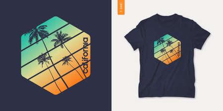California graphic t-shirt design with palm tress, summer retro print, vector illustration