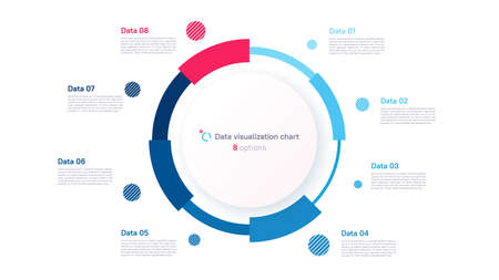 Vector pie chart infographic template in the form of pie chart divided by eight parts