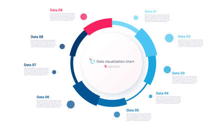 Vector pie chart infographic template in the form of pie chart divided by nine parts