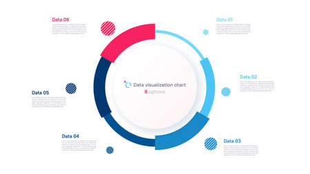 Vector pie chart infographic template in the form of pie chart divided by six parts