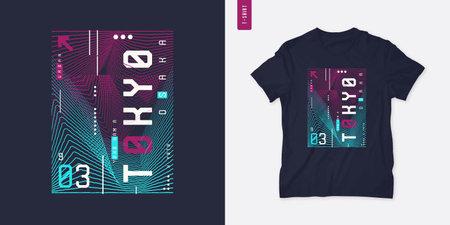 Tokyo. Streetwear graphic t-shirt design, technology print, vector illustration