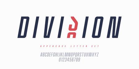 Vector narrow italic sans serif font, uppercase letter set, alphabet, typography