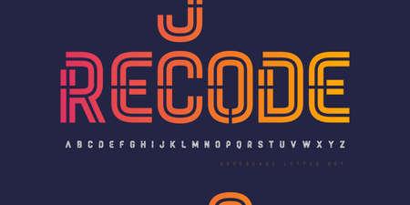 Vector inline stencil uppercase letter set, alphabet, font, typography Stock Illustratie