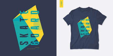 Skateboard. Streetwear graphic t-shirt design, letter print, vector illustration
