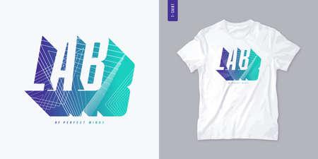 Lab of minds letter t-shirt design, poster, typography. Vector illustration