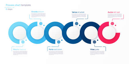 Vector process chart design, modern template for creating infographics, presentations, reports, visualizations Stock Illustratie