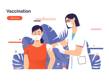 Vector illustration depicting a female doctor vaccinates a woman patient against  virus