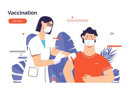Vector illustration depicting a female doctor vaccinates a man patient against virus Stock Illustratie