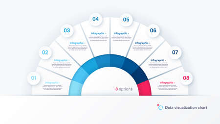 Vector round infographic chart template in the form of semicircle divided by eight parts Stock Illustratie