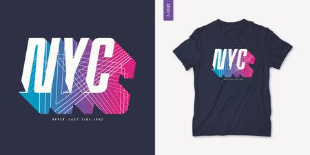 New York City letter t-shirt design, poster, typography. Vector illustration Stock Illustratie