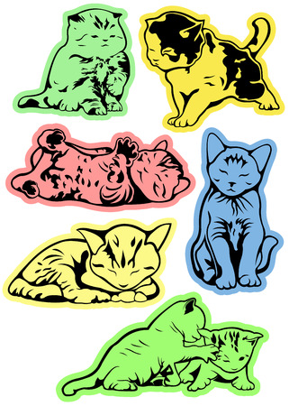 silueta de gato: Funny vector kittens on a colored background.
