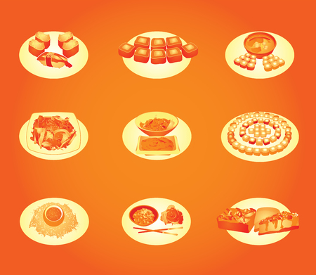 Vector stylized japanese food.