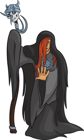 mythological character: Mysterious red hair priest with viking skull.