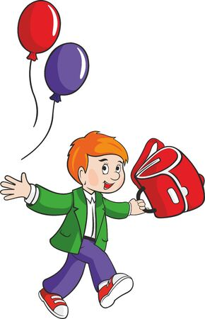 Vector schoolboy with balloons and backpack.