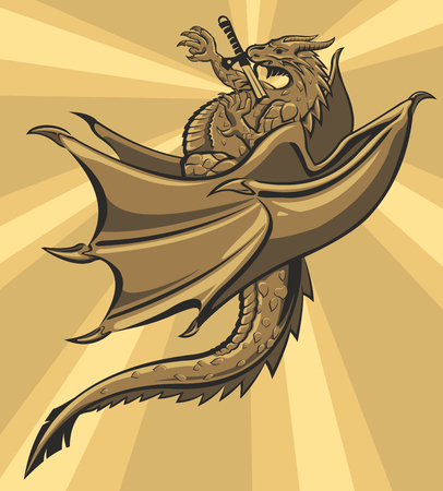 Dragon with sword in his heart Vector illustration.